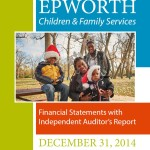 Cover of Epworth's 2014 Annual Audit Report with picture of the families kids wearing Santa Clause hats